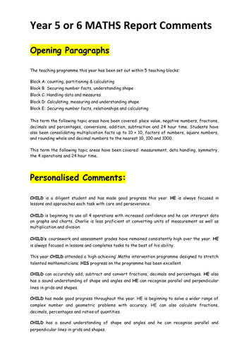 Year 6 Maths Reports - Bank of Comments