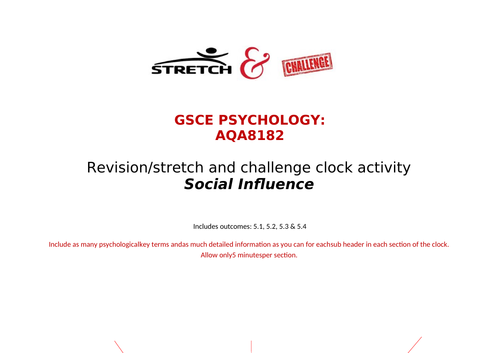 Social influence revision clock GCSE psychology 8182