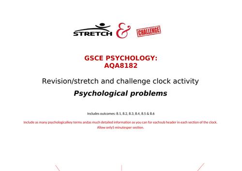 Psychological problems revision clock AQA GCSE psychology 8182