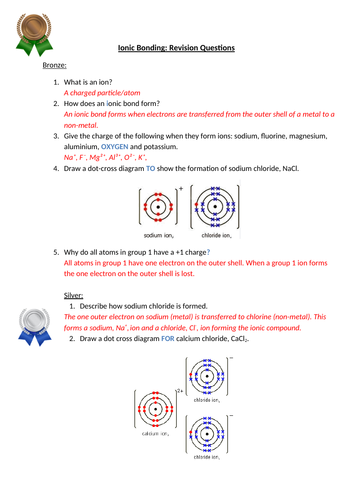 Aqa Chemistry Ionic Bonding Questions And Answers Bronze Silver Gold Teaching Resources