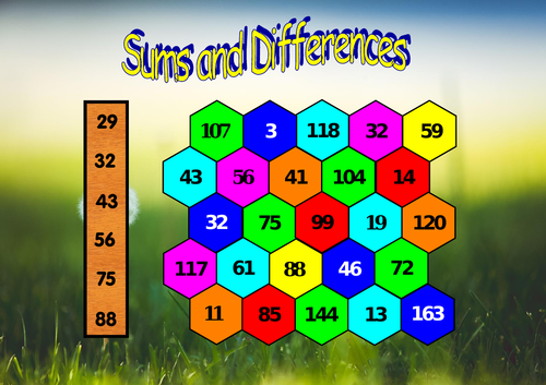Sums and Differences - A game to develop arithmetic skills in KS2 and KS3