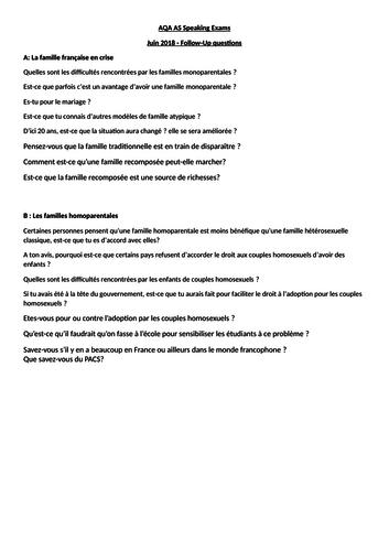 AQA AS / A Level Speaking Examination