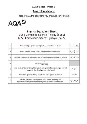 Energy Calculations (AQA 9-1 Topic 1)