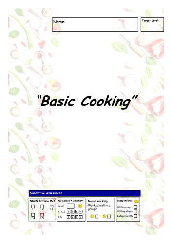 Basic Cooking NOCN Workbook (9 pages)