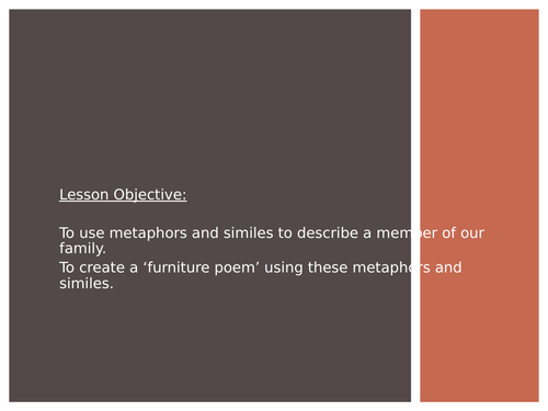 The Furniture Game Writing a Metaphor Poem Lesson