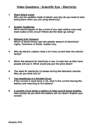 Electricity - Scientific Eye - Questions to accompany video