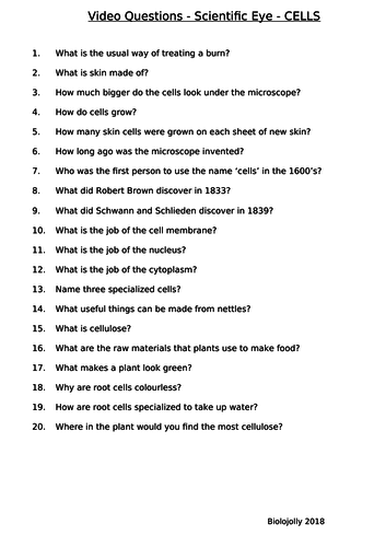 Cells - Scientific Eye - Questions to accompany video