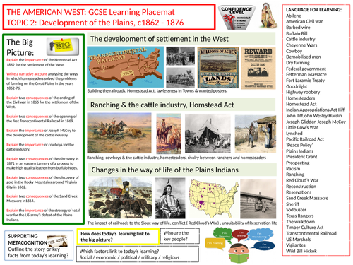 9-1 Edexcel History Learning/Topic Placemats for The American West- Topic 2