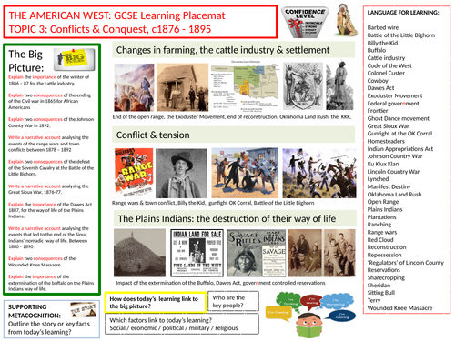 9-1 Edexcel History Learning/Topic Placemats for The American West- Topic 3