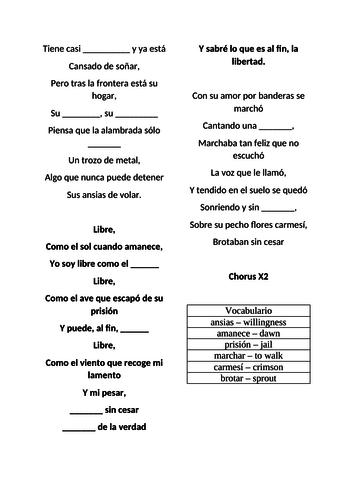 Taste lesson Y10/Y11 Spanish. La música