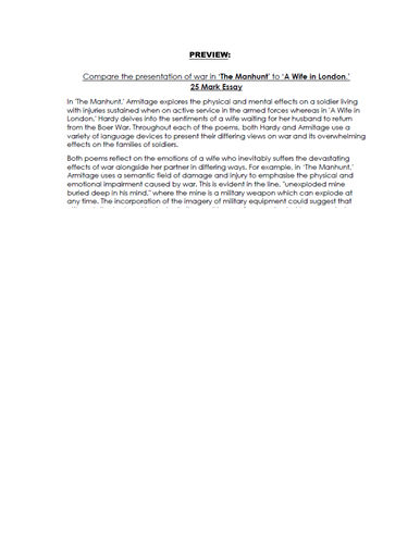 COMPARISON Essay RESPONSE - 'The Manhunt' & 'A Wife in London.' - 9-1 EDUQAS GCSE ENG LIT NEW SPEC