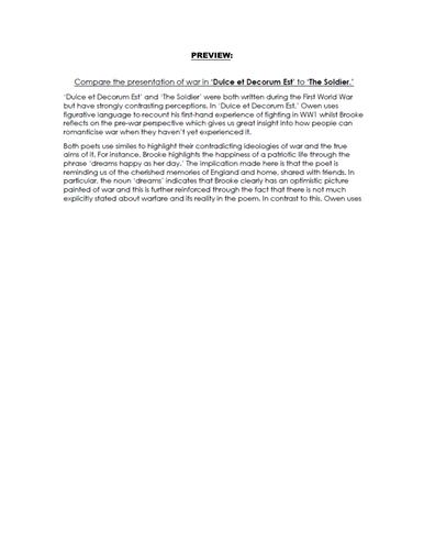 COMPARISON Essay RESPONSE - Dulce et Decorum Est & The Soldier - 9-1 EDUQAS GCSE ENG LIT NEW SPEC