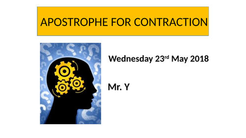 Apostrophe for contraction (Year 3-Year4 )