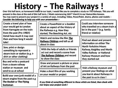 The Railways homework History task