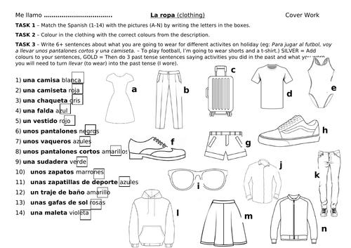 La ropa worksheet cover lesson