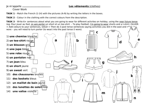 Les Vetements Worksheet Cover Lesson Clothing Clothes By