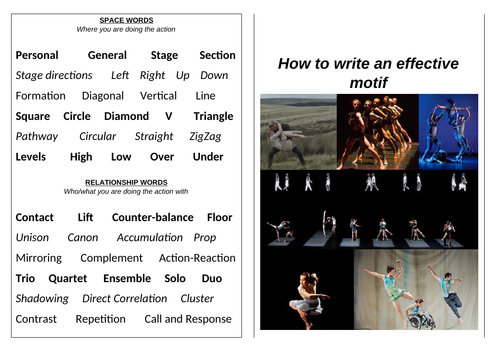 GCSE Dance Word Bank for Actions Space Dynamics Relationships