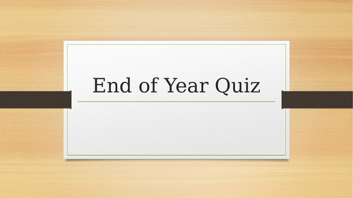 End of Year French Quiz