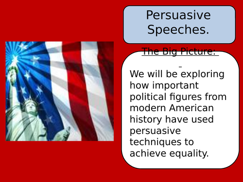 Persuasive Speeches Full Scheme of Work- KS3