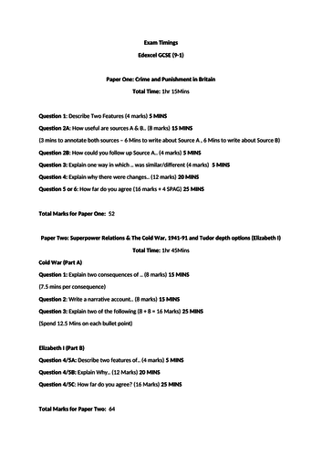 Overview and Exam Timings of Edexcel History  GCSE 9-1