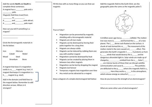 KS3 Magnets Revision Sheet