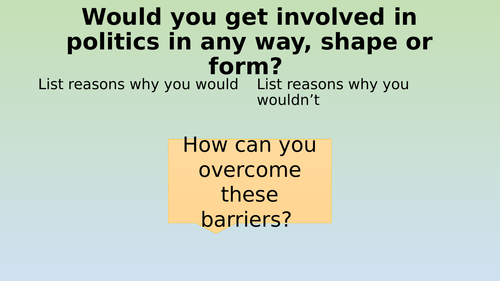 Edexcel Citizenship 9-1 Theme D Opportunities and Barriers to Political Participation