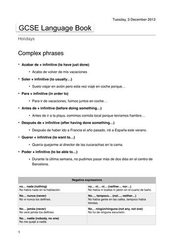 GCSE Spanish advanced language booklet