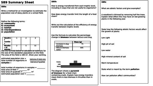 SB9 Revision Summary Sheet