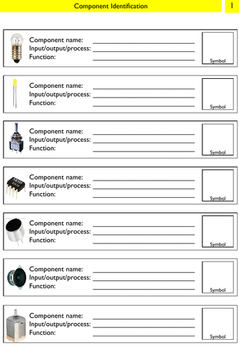 Electronic Component ID Worksheets (x4)