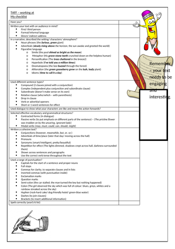 Child friendly TAFF checklist years 5 and 6