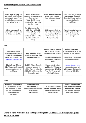 Global distribution of resources energy food and water worksheet 9-1 ...
