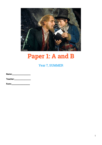 Paper 1, English Language  Booklet for KS3 (AQA)