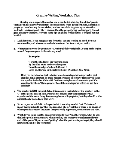 What is a creative writing workshop media essay writing