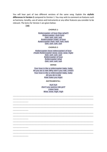"Eduqas A-level Music Rock & Pop Comparison Sample Question: ""Rollercoaster of Love"""