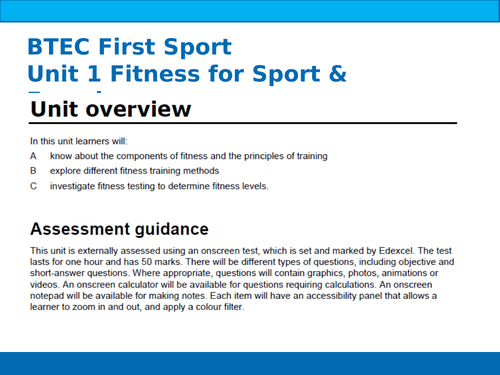 BTEC Sport Unit 1 Components of Fitness
