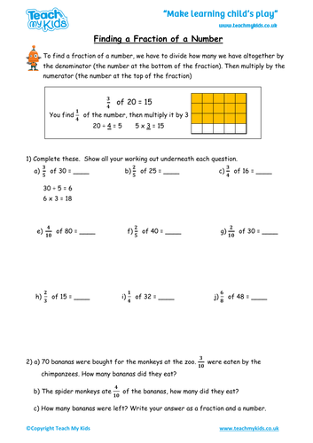 Fractions - Finding a Fraction of a Number
