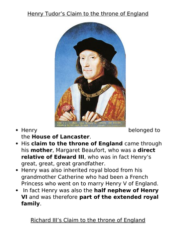 Should Henry VII have become King? What were the Wars of the Roses?  (KS3 History)
