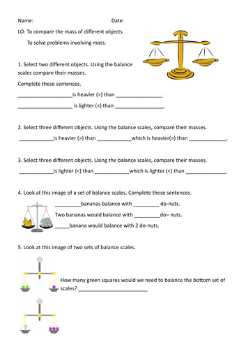 Year 2 WRM Mass differentiated activities including problem solving