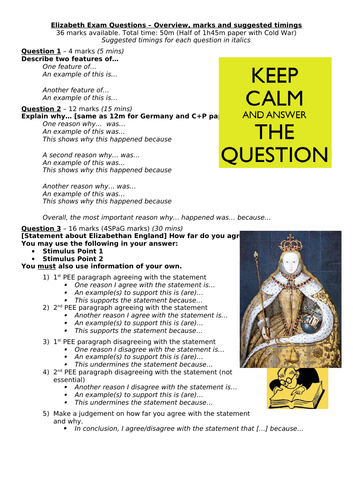 Elizabethan England -  Exam skills and revision overview - Edexcel GCSE History