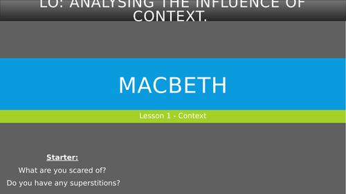 Macbeth Unit - Yr 9