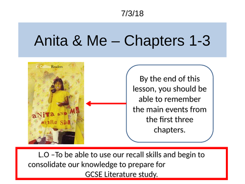 Anita and me by Meera Syal KS4 / GCSE complete scheme of work