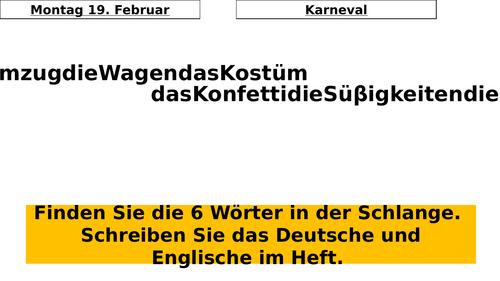 Middle school German resources: festivals