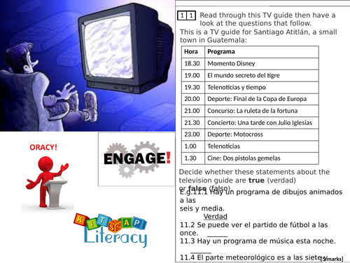 TV shows / TV program - Spanish- AQA  GCSE Reading (Sec. A- T/F) differentiated