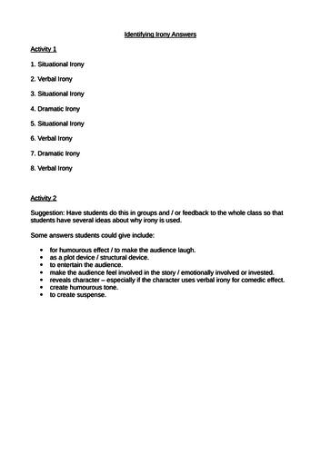 Irony Infosheet And 2 Irony Worksheets Gcse Language Literature By