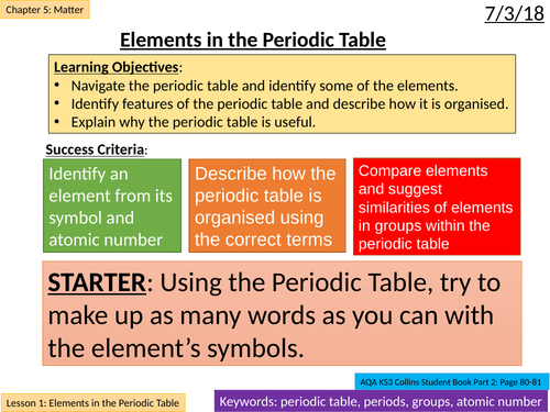 NEW AQA KS3 - Matter - Lesson 1: Periodic Table