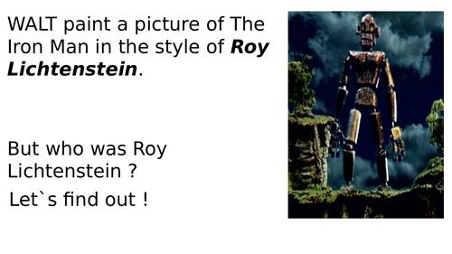 Iron man painting in the style of Roy Lichtenstein
