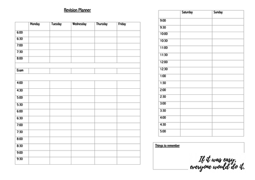 Exam Weekly Revision Planner for School