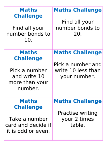 Maths Challenge Cards