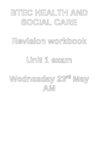 Health and social care - Unit 1 revision booklet