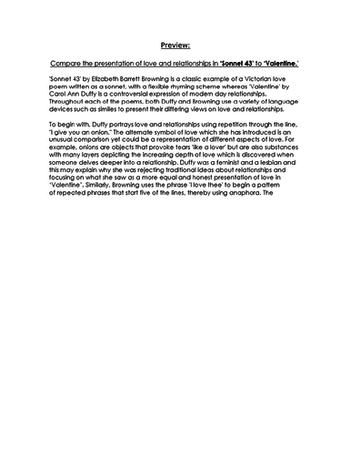 COMPARISON Essay RESPONSE - Sonnet 43 & Valentine- 9-1 EDUQAS GCSE ENG LIT NEW SPEC